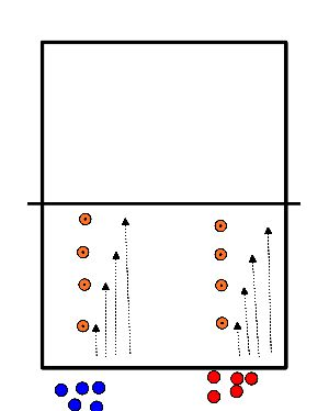 voetbal Sprinten van dopje naar dopje