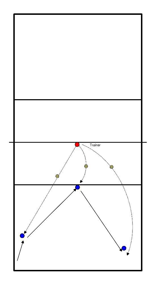 volleybal Verdediging 3 ballen
