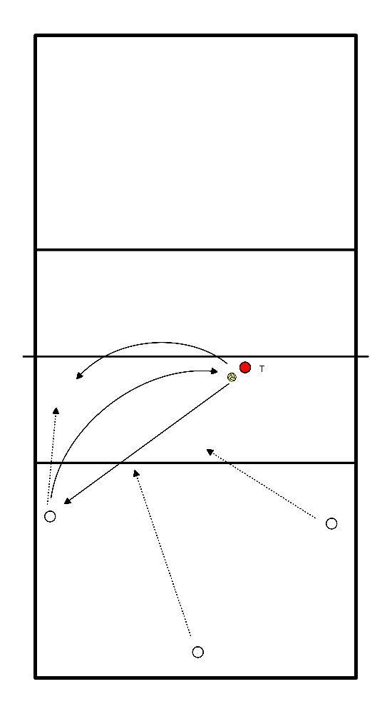 volleybal Pass, blokverdediging en aanval