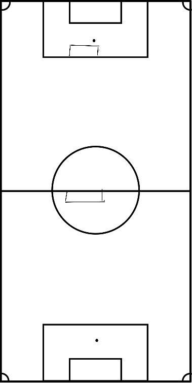 voetbal 8 tegen 4 of 6 tegen 3 of 10 tegen 5 in afgebakende ruimte.