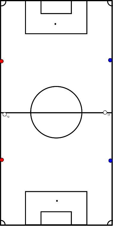 voetbal Matchvorm met kaatsers langs de zijkant