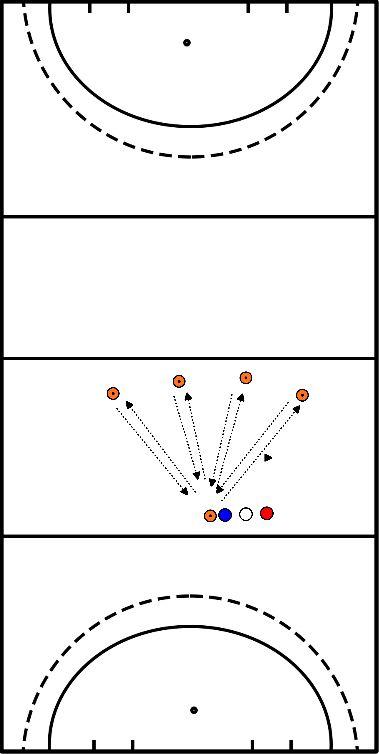hockey Estafette naar 4 pionnen heen en terug