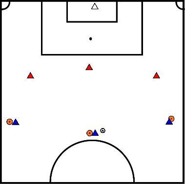 voetbal 3 tegen 3 op half veld