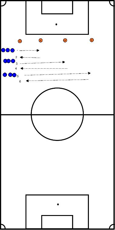 voetbal Sprintoefening (naar pion 1, pion 2, pion 3)