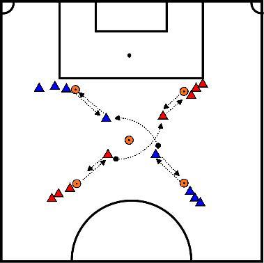 voetbal WU sprinten, bal overbrengen