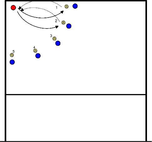 volleybal In de hoek reactieballen verwerken (M. Kool)
